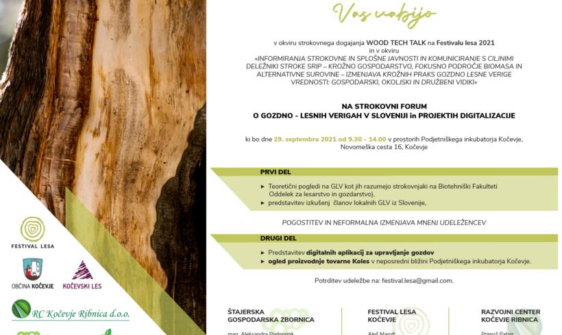 Strokovni forum o gozdno-lesnih verigah v Sloveniji in projektih digitalizacije